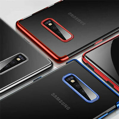 For Samsung Galaxy S10 S10e S10 Plus Chrome Rubber Clear TPU Slim Case Cover