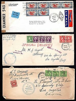 US 1930's THREE COVERS ONE WITH POSTAGE DUE 3 CENTS,ONE WITH FEE CLAIMED SPECIAL