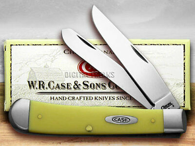 CASE XX Trapper Knife Yellow Delrin Synthetic Handle CV Pocket Knives 00161