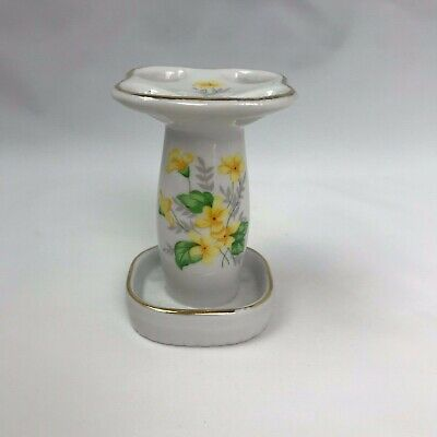 Vintage Ceramic Porcelain Toothbrush Holder Yellow Green Spring Flower Accents