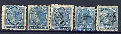 5x Federal Bill Stamps 1864 1st Bill Issue; FB-3-6-9-9-10 Cat. Value= $113.00