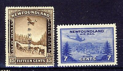 2x Newfoundland MH Airmail stamps #211 Land & Sea Shifted O.P. & C19-7c CV=$60.