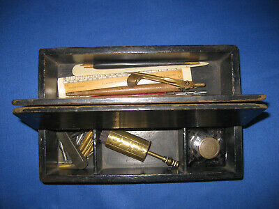 Antique Victorian Traver Writing Stationery Box With Glass inkwell, Dip Pens ...