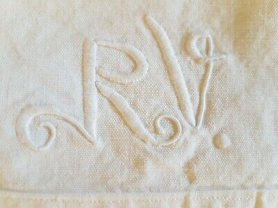 Antique metis flax linen seamed huge sheet embroidered initials RV Ex Cond.