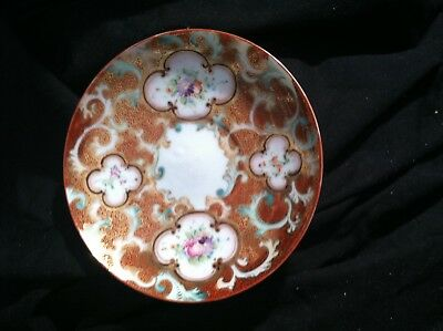 hand painted unsigned Nippon 5.5 inch saucer gold red cartouche flower rose