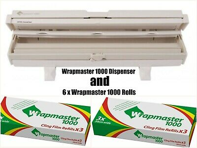 """Wrapmaster Dispenser 1000 12"""" AND 6 Rolls of Clingfilm Refills 30cm x 100m"""