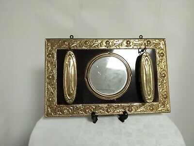 Vintage Brass Hall Mirror *Last Look* & Clothes Brushes Made in England.