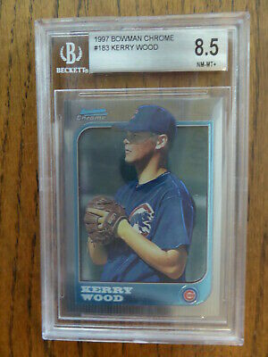 1997 Bowman Chrome KERRY WOOD  RC ROOKIE #183 Chicago Cubs  BGS 8.5 NM-MT+