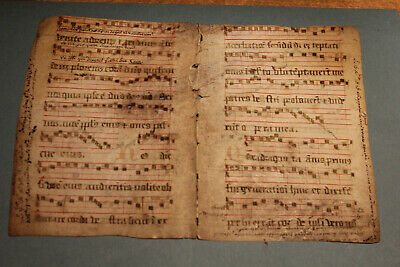 c1500 medieval decorated bifolium latin antiphonal vellum used as cover manuscri