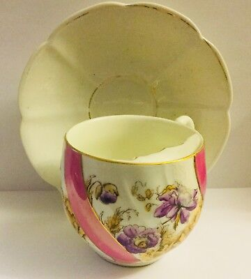 "Antique Victorian Fine Mustache Cup And Saucer * Wonderful, Marked With ""M"""