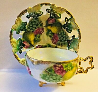 Royal Sealy Japan 3 Footed China Luster * Reticulated  Fruit (Pears) Tea C & S