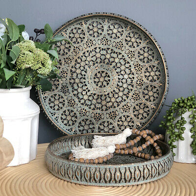 Pressed Metal Tray/Large/Round/Moroccan/Trinket Tray/Bedroom/Bathroom