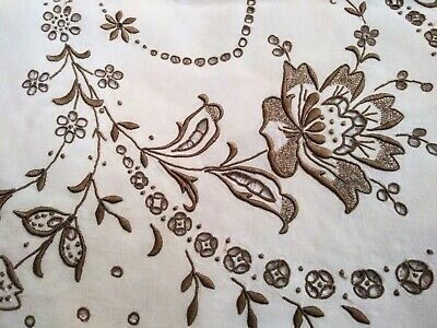 Wow! Amazing Floral Cutwork & Embroidered Madeira Linen Tablecloth 49 by 48 Inch