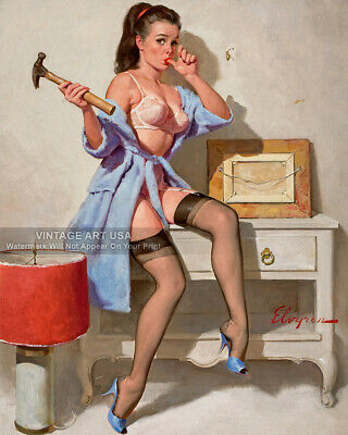 "1960s Vintage Pin-up Girl Art ""The Wrong Nail"" Gil Elvgren Cheesecake 8x10 Print"