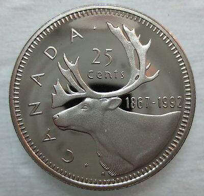 1867-1992 CANADA 25 CENTS 125th CONFEDERATION ANNIVERSARY PROOF COIN
