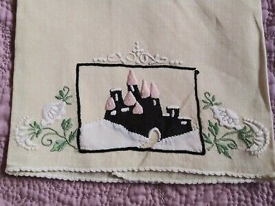 Amazing Castle Design Madeira Applique & Embroidered Linen Hand Towel 22.5x12.5""