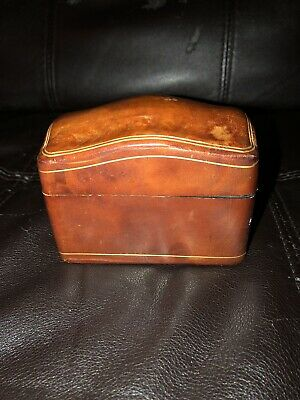 Vintage Mid-20th Century Calf Leather Playing Card Game Box- Made In Italy