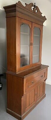 Antique Cedar Glass Fronted Bookcase