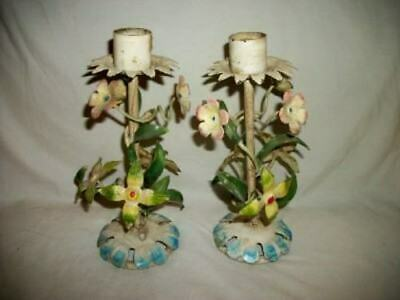 ITALIAN TOLE FLORAL CANDLE HOLDERS VINTAGE 1930's CHIPPY ORIGINAL CHIC SHABBY