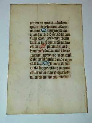 c1300 latin medieval decorated book of hours psalter manuscript red blue initial