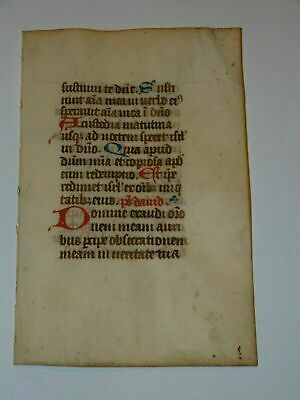 c1300 decorated latin medieval psalter book of hours manuscript initlals red blu