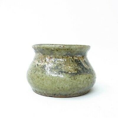 Semi Vtg Signed Artisan Studio Pottery Chunky Earthy Textured Glazed Vase Pot