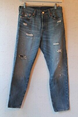 LEVIS 501 button fly  crop jeans with distressed hem sz 29