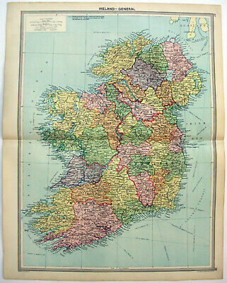 Original 1926 Map of Ireland by George Philip & Son. Antique