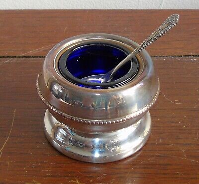 Vintage Silver Plate Salt Cellar w/ Blue Glass Insert & Tiny Decorated Spoon
