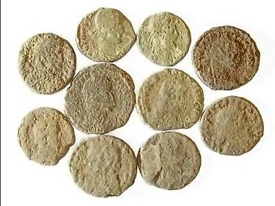 10 ANCIENT ROMAN COINS AE3 - Uncleaned and As Found! - Unique Lot 19727