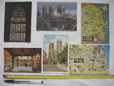 Six postally unused York/Yorkshire postcards-York Minster-stylised maps-Ridings.