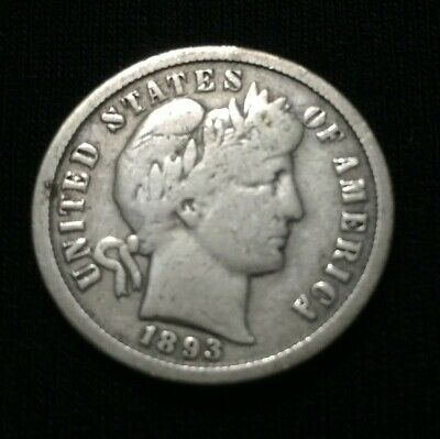 1893   USA United States Liberty   -  1 One Dime Silver Coin    VG