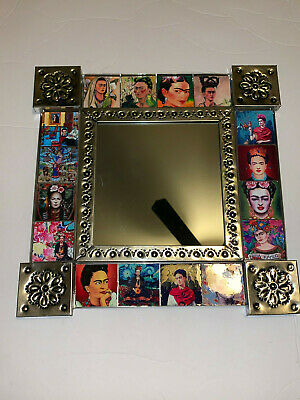 """Mexican Folk Art Punched Tin Mirror Frida Kahlo  -Square Tiles-  Wall Mirror 14"""""""