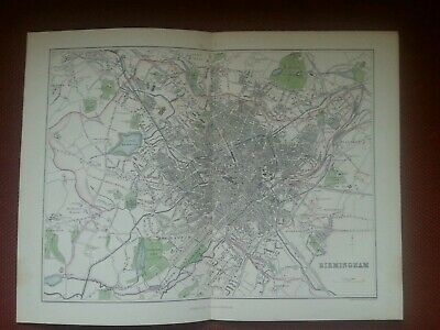 1860s MAP of BIRMINGHAM by Bartholomew Edgbaston Railways Colour Antique