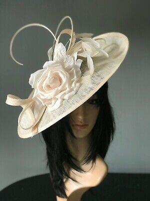 PETER BETTLEY CHAMPAGNE WEDDING  DISC FASCINATOR Mother Of The Bride Hat
