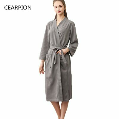 Women Robe Cotton Soft Kimono Bathrobe Gown Solid Color Casual Sleepwear