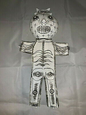 """Mexican Folk Art Hand Painted Coconut White Bodied Ghost Wall Art14"""""""