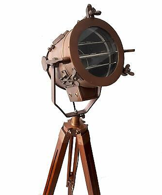 Antique Copper Mid Century Searchlight Focus Tripod Floor Lamp Wooden Stand