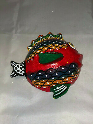 Mexican Folk Art Hand Painted Coconut Shell Red Fish #1 Wall Art
