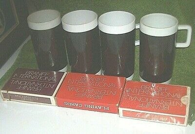 4 Vintage Braniff Int'l Airlines Black & White Cappuccino Mugs, 3 Decks Cards
