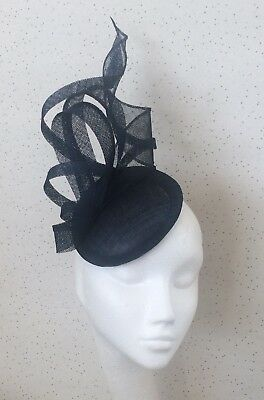 Navy Wedding Fascinator Navy Fascinator Pillbox Hatinator Navy Blue Ascot Hat