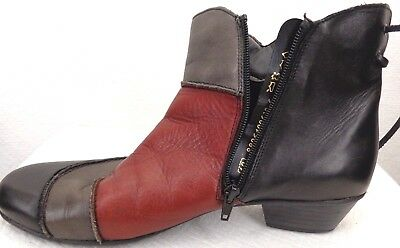 Remonte Rieker womens size 40 US 9.5 boot mid calf red distressed leather zip
