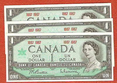 3 1867-1967 canada centennial one dollar bank notes Gem Uncirculated E727