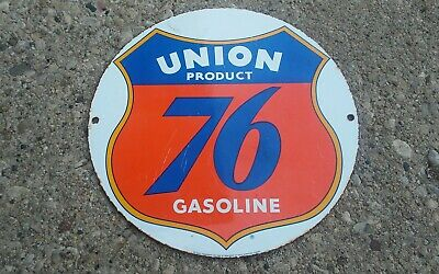 Vintage UNIIN 76 GASOLINE porcelain sign motor gas oil Dealer service station