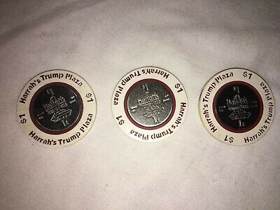 Lot of (3) Three Casino Chips Harrah's Trump Plaza $1 Game Tokens Casino Chips