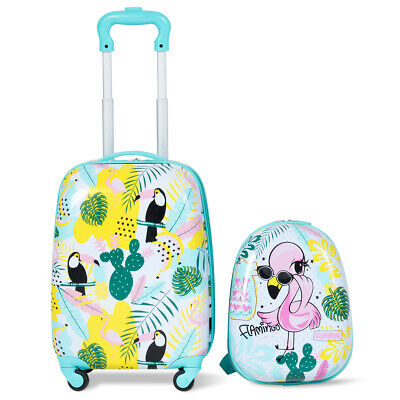 2PC Kid Luggage Set 12'' Backpack & 16'' Rolling Trolley Suitcase ABS Flamingos