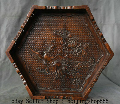 "14.4"" Old China Huanghuali Wood Phoenix Flower Birds Dynasty Hexagon Plate Tray"