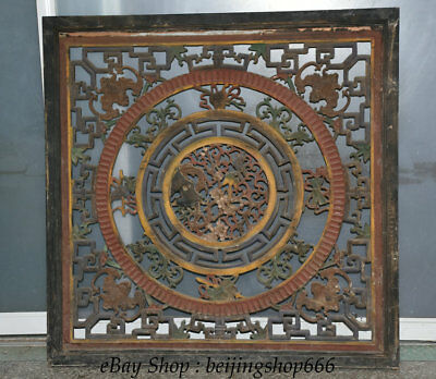 """37"""" Chinese Old antique Wood Master Carved Flower Bat Furniture Folding Screen"""