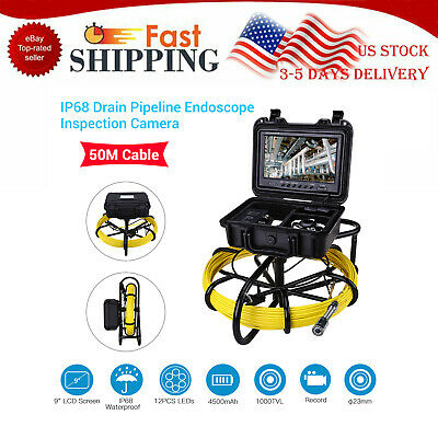 "9"" 164ft Pipe Drain Endoscope Inspection System IP68 Snake Camera Video DVR 8GB"