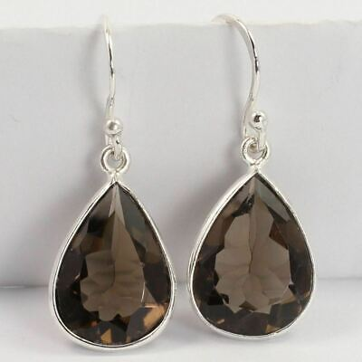 Hot Fashion Earrings Natural SMOKY QUARTZ Gemstones 925 Sterling Silver Jewelry